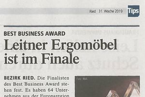 TIPS: Best Business Award - Leitner Ergomöbel ist im Finale