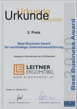 Urkunde Best Business Award
