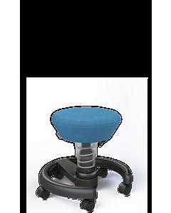 Kinder-Drehsessel Swoppster von Aeris für Kinder, Basis hellgrau-metallic, blauer Sitzbezug