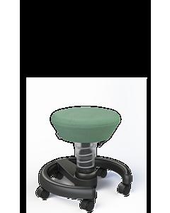 Drehhocker Swoppster von Aeris für Kinder, Basis hellgrau-metallic, grüner Sitzbezug