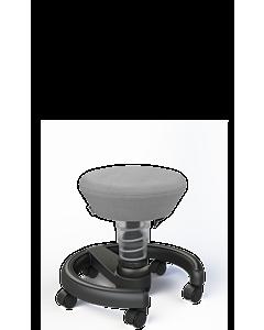 Kinderdrehhocker Swoppster von Aeris, Basis hellgrau-metallic, grauer Sitzbezug