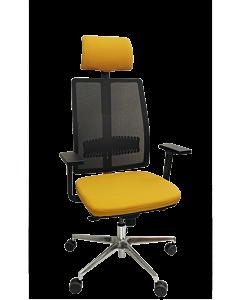 Bürodrehstuhl Detroit mit hoher Rückenlehne, Kopfstütze und elastischer Lordosenstütze