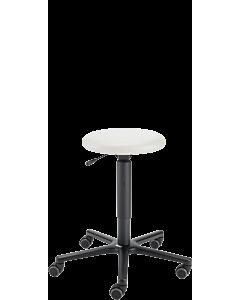 Therapeutenhocker LeitnerHoc 2 (Sitzhöhe 44 - 65 cm) mit weißem Kunstlederbezug