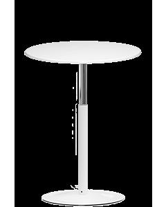Stehtisch LeitnerTable mit weißem Tellerfuß und weißer Tischplatte