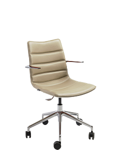Besprechungsstuhl/Homeoffice-Sessel Nebraska mit Fußkreuz chrom, Rollen und fixen Armlehnen am Rückenteil