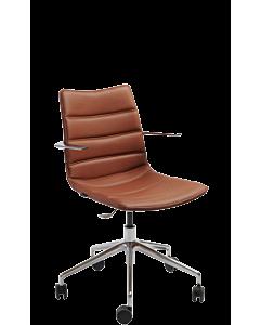 Homeoffice-Sessel Nebraska mit Fußkreuz chrom, Rollen und fixen Armlehnen, Kunstleder braun