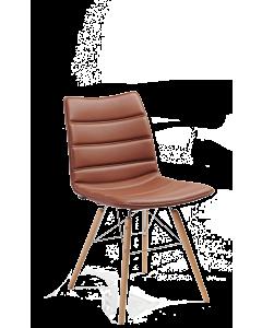 Esszimmer-Sessel Nebraska mit Vierfußgestell mit Holzbeinen, Kunstleder braun