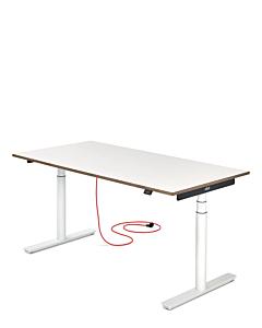 Elektrisch höhenverstellbarer Schreibtisch ELIOT, Tischplatte weiß, 140x70 cm