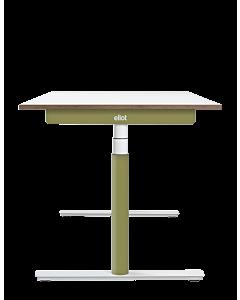 Elektrisch höhenverstellbarer Schreibtisch ELIOT, Designcover Olive, Tischplatte weiß, 140x70 cm