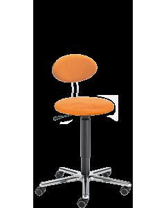 Bürohocker LeitnerTwist 2 mit runder Sitzfläche und Bezug in COMFORT Mikrofaser orange