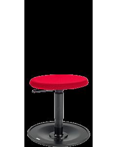 Bewegungshocker LeitnerWipp 1, Rundsitz PU mit Überzug DuoMesh rot, Metallsockel schwarz