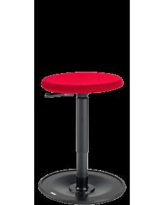Lehrerhocker LeitnerWipp 2 mit runder PU-Sitzfläche und DUOMESH-Überzug, rot