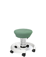 Kinderhocker Aeris Swoppster, weiße Basis, grüner Sitzbezug