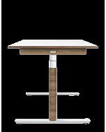 Elektrisch höhenverstellbarer Schreibtisch ELIOT, Designcover Holz dunkel, Tischplatte weiß, 140x70 cm