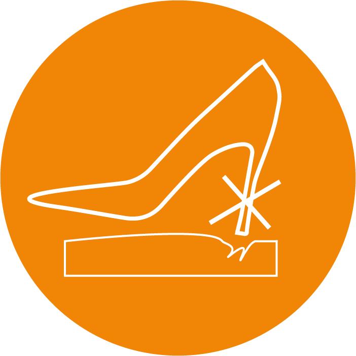 Nur mit flachen Schuhen ohne Absätze verwenden